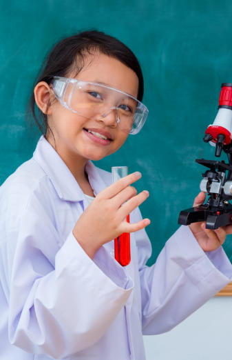 Elementary student learning chemistry skills